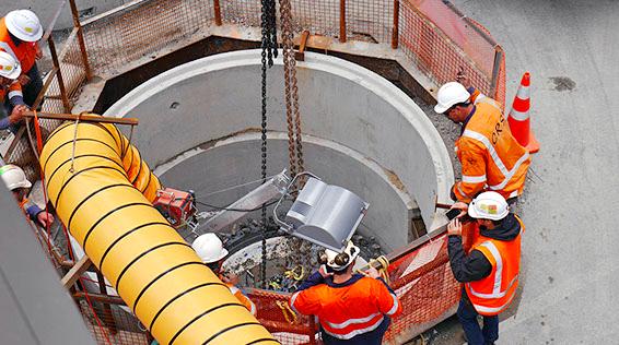 Segmented caisson shaft at Swanson Street