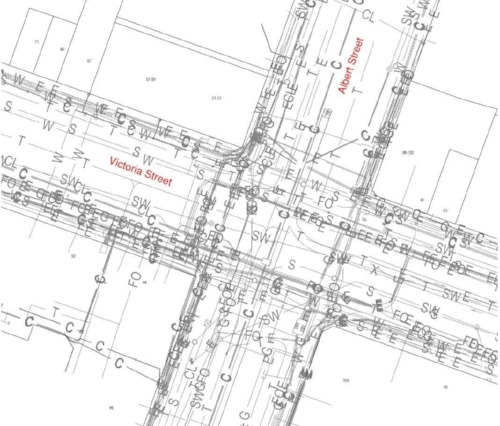Here's a map of the utilities we've discovered on the corner of Albert and Victoria Streets.