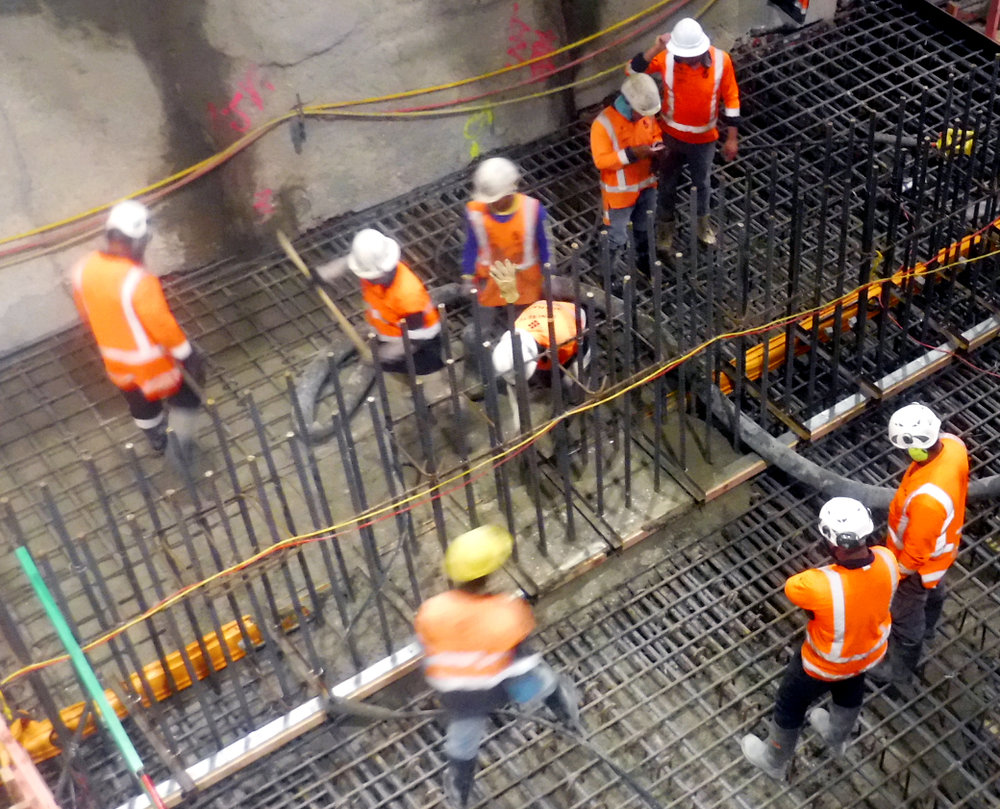 Britomart reinforced concrete pour of first base slab 8 January 2019