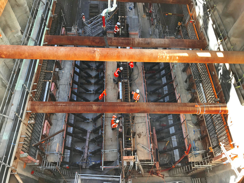 Aerial photo of Albert Street tunnel box where concrete pour of middle wall is in progress