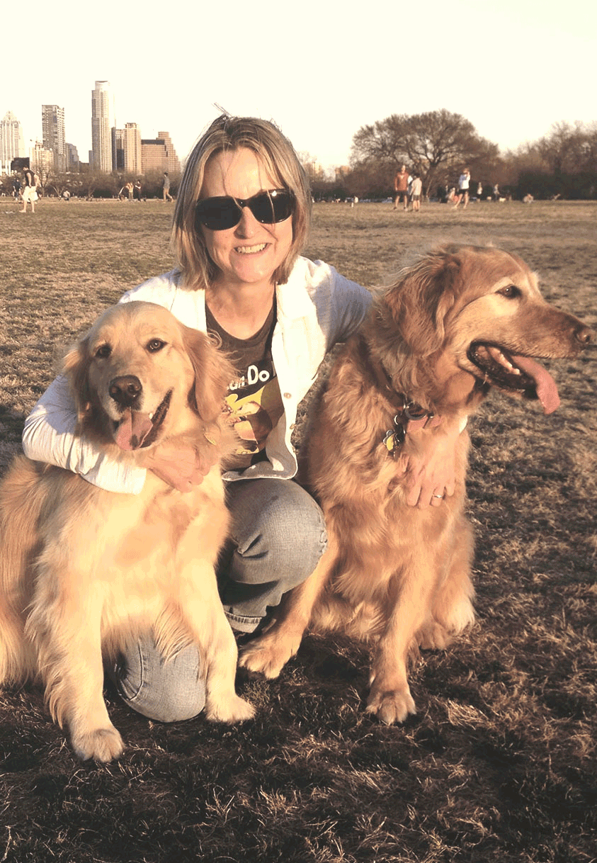 Cheryl Fries with her dogs