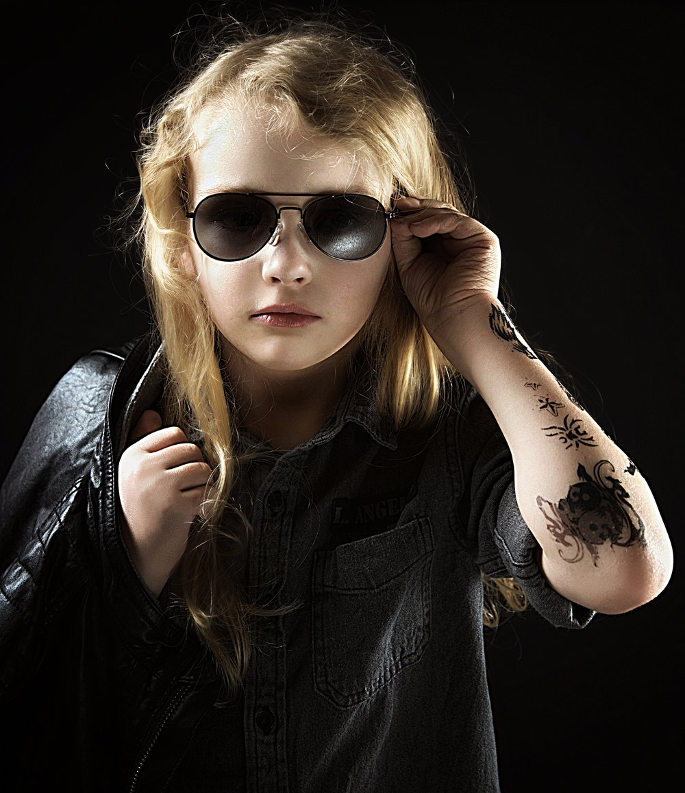 Rocker dude, child with a hotshot style portrait