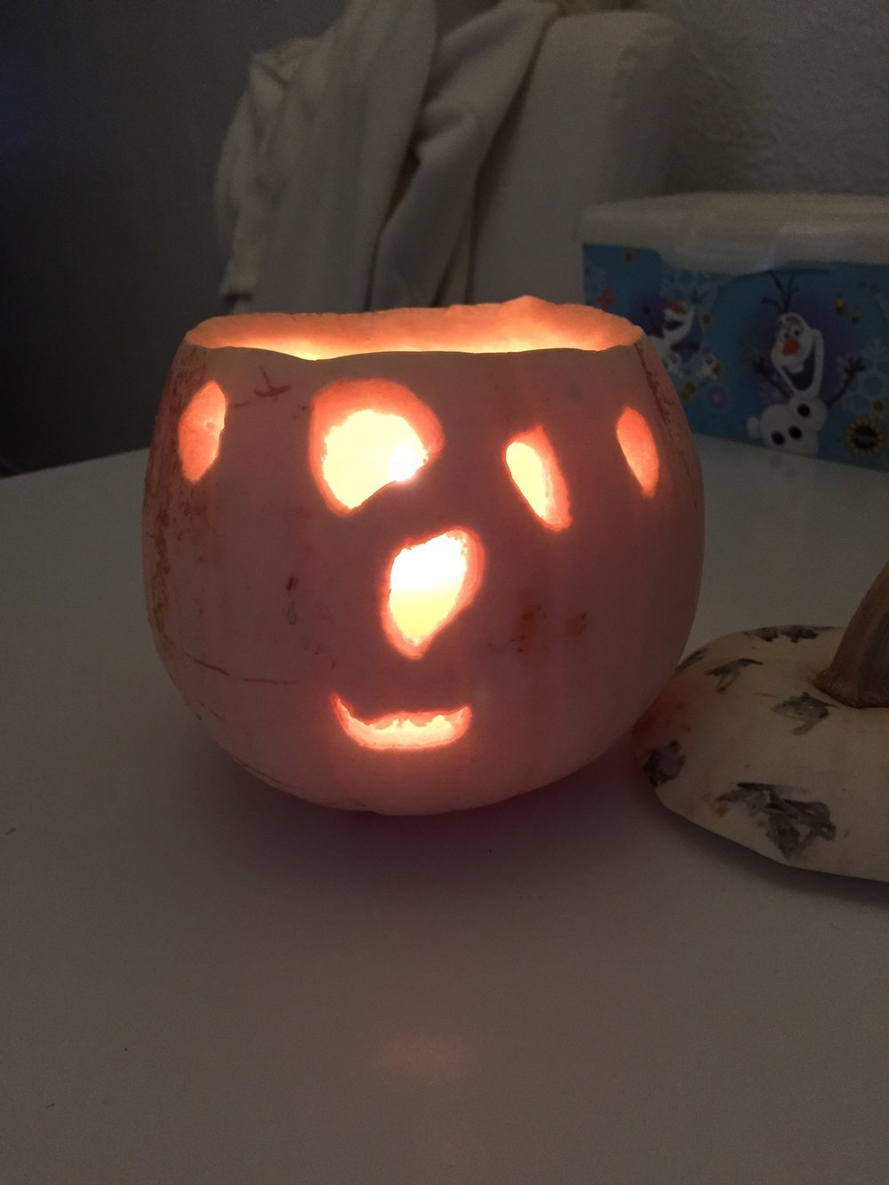 My youngest son's Jack O' Lantern from last Halloween - how happy is that? :)