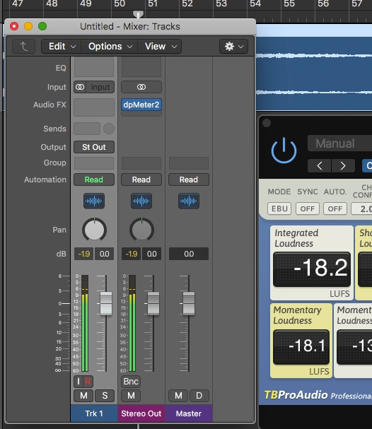 dpMeter in Logic Pro. Note the average of around -9dB with an Integrated Loudness of -18 LUFS. Logic's RMS Metering is off by about 3dB (under), but it's built-in Loudness (LUFS) and True Peak meters are accurate.