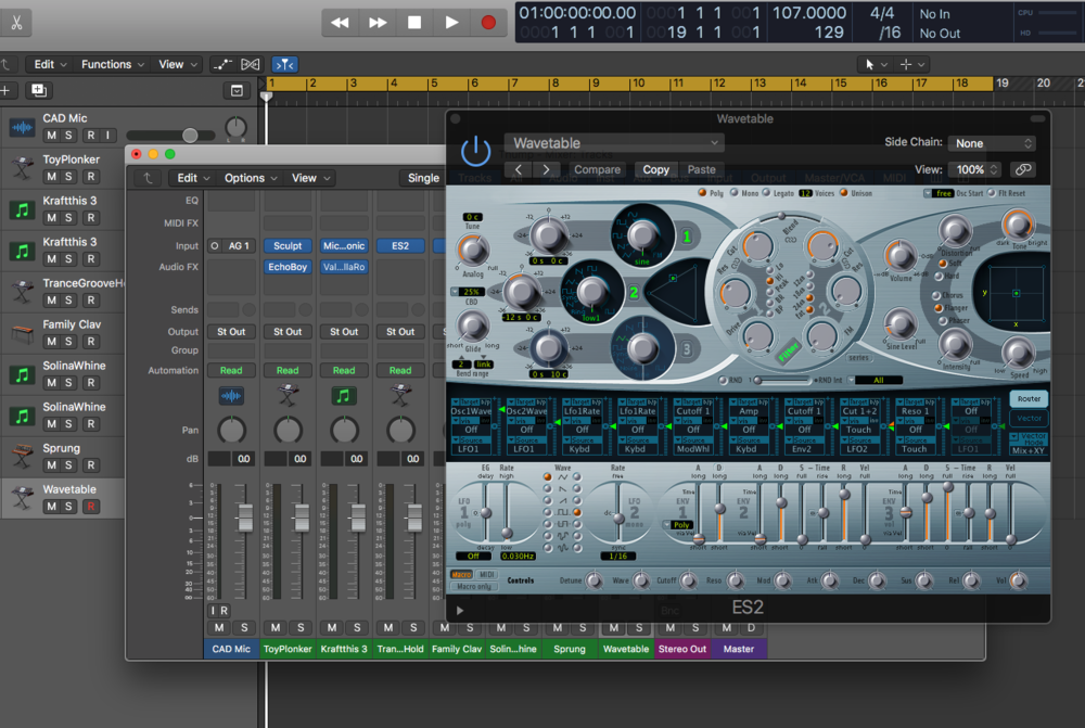 One of my typical Logic Pro Projects. I bounce between Logic, Pro Tools, Reaper, and Live because apparently I am some kind of masochist. :)