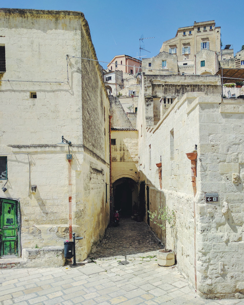 A vicolo in Matera, Basilicata, Italy. The old and the new.
