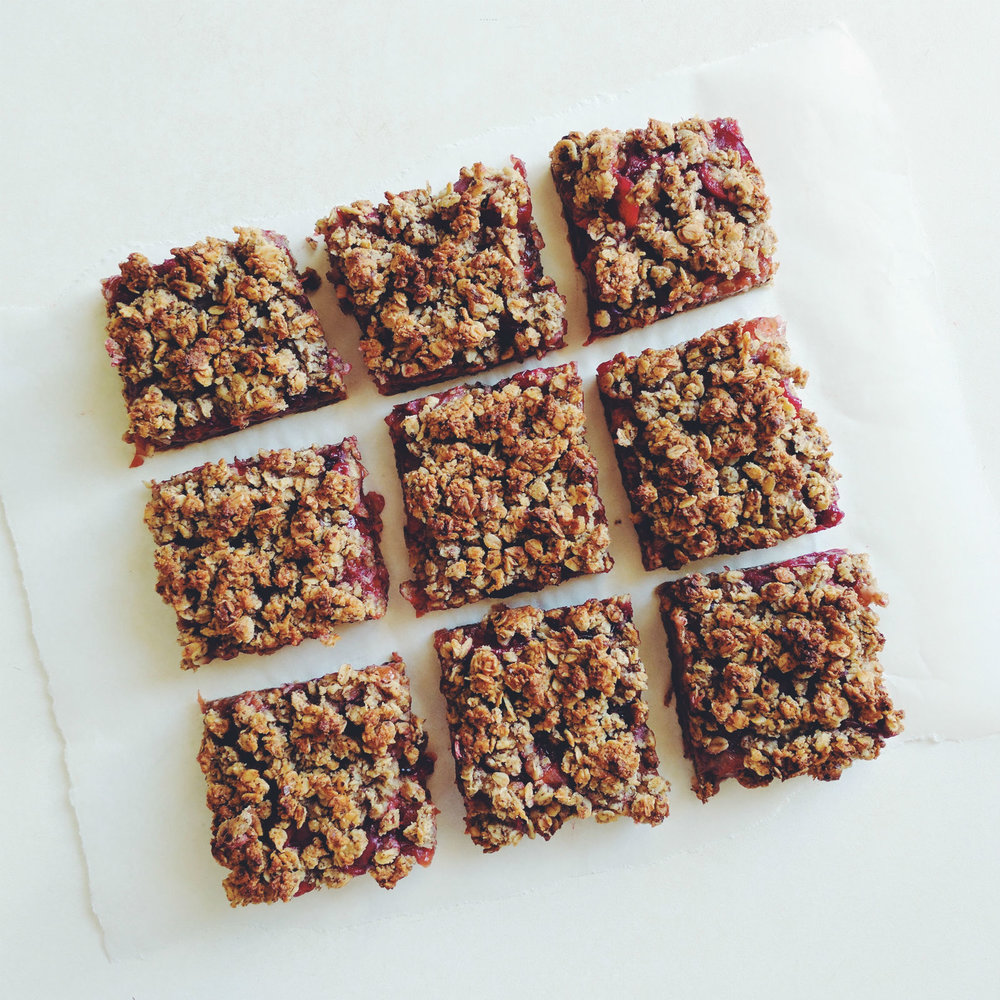 Plum hazelnut crisp bars