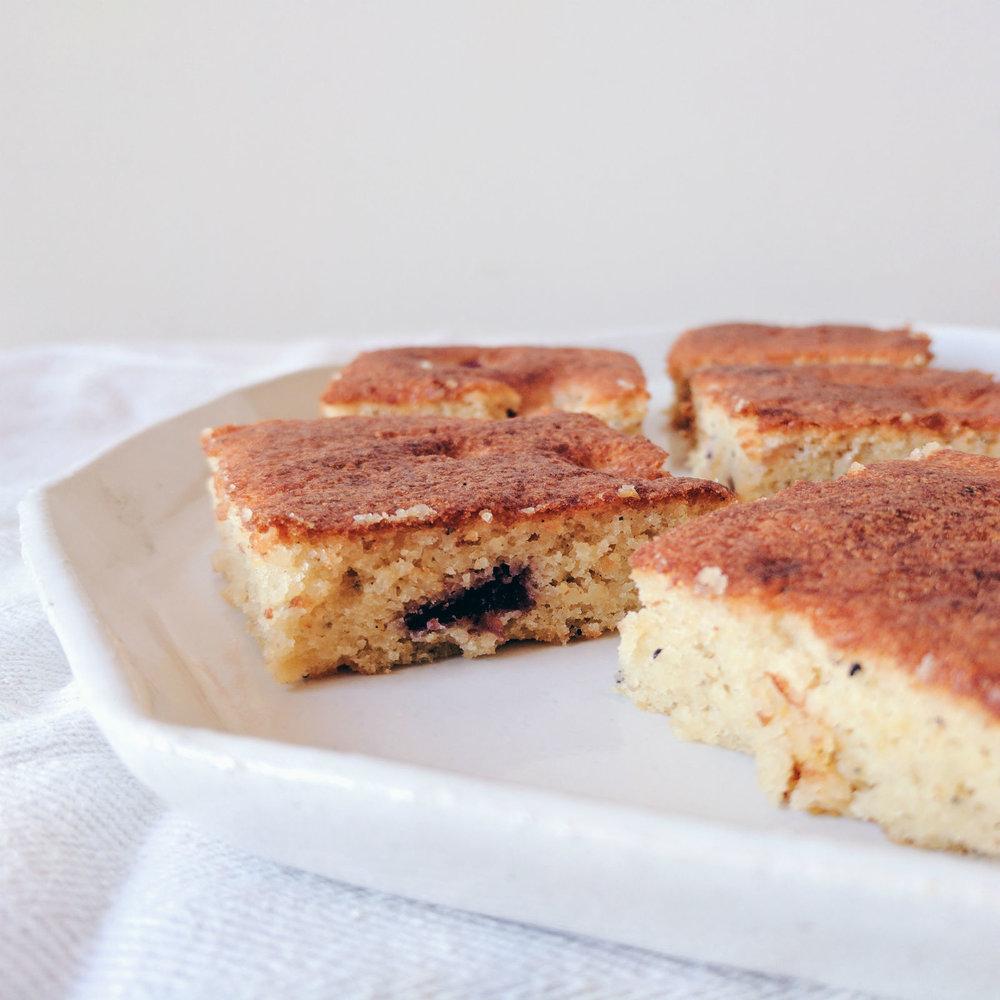 A simple almond cardamom cake.