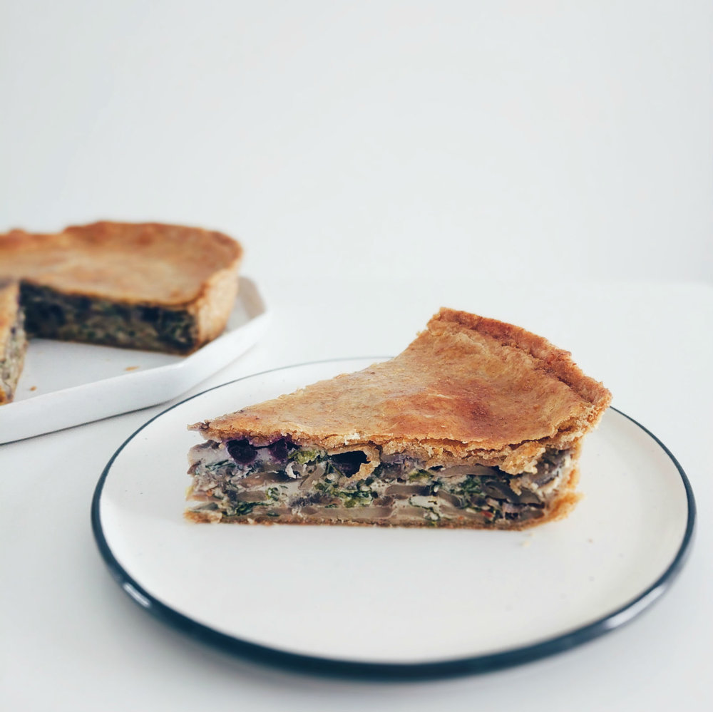 Mostly mushrooms with a hint of blueberry in this savoury pie.
