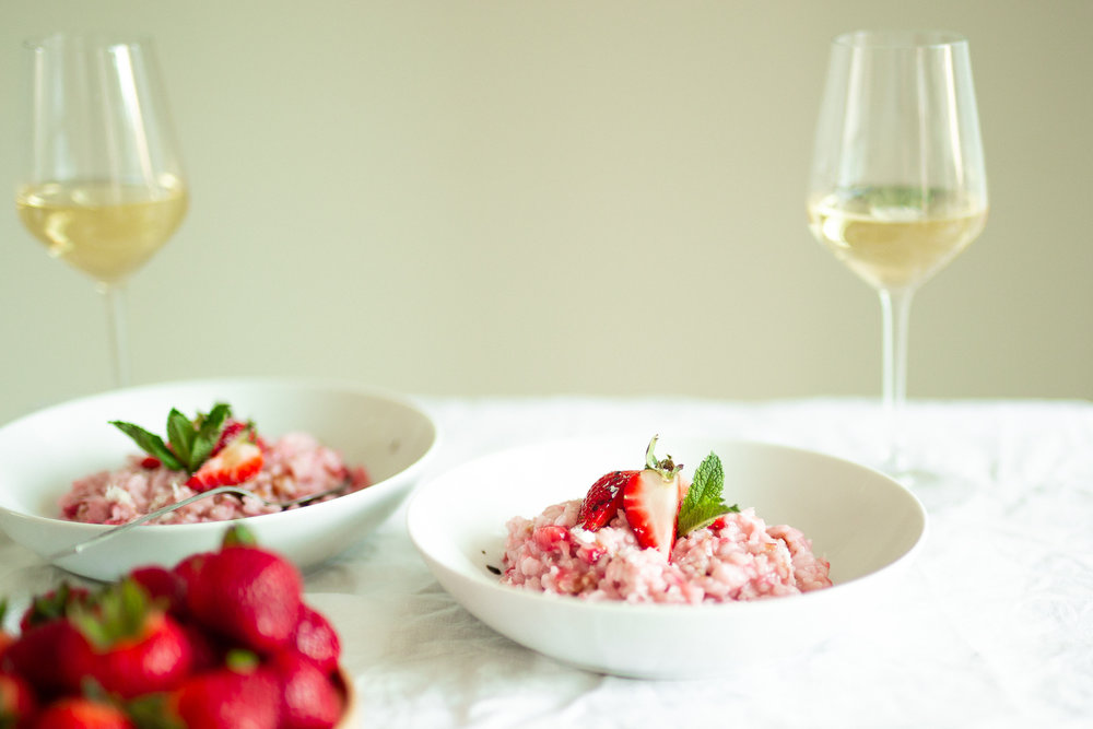 Strawberry risotto with grape must reduction, fresh mint, and white wine.  Risotto alle fragole .