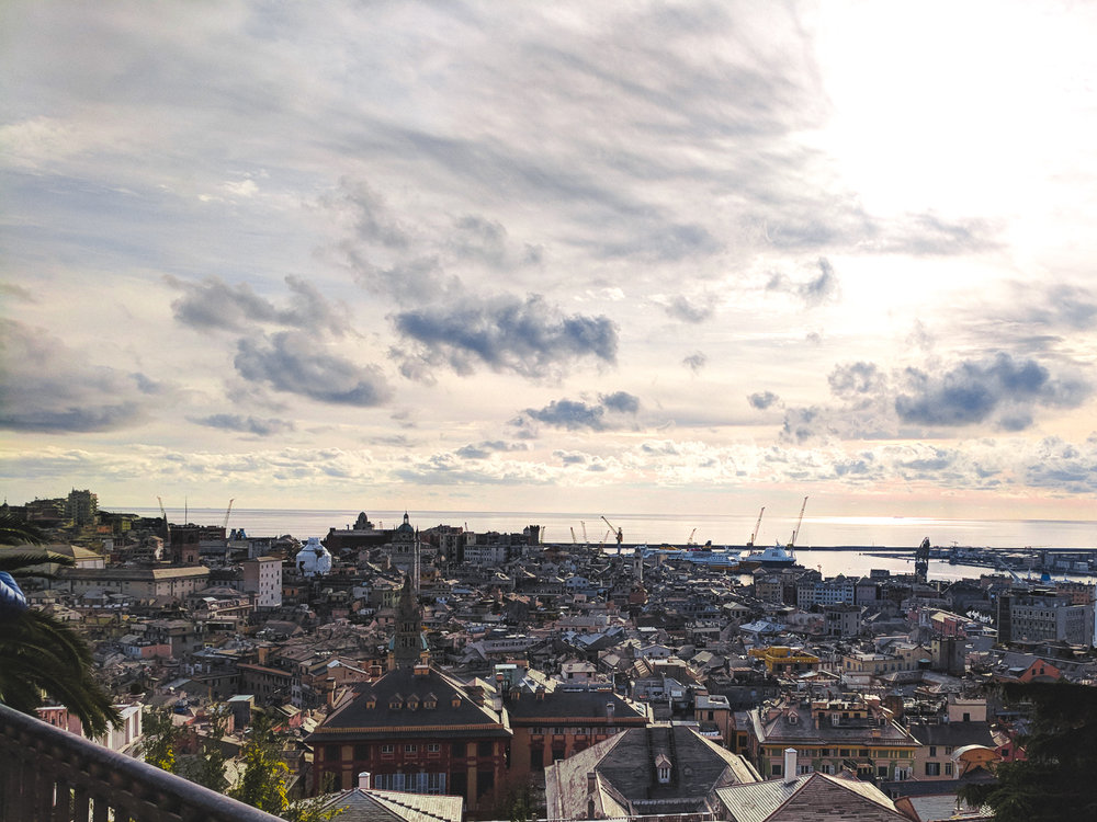 The view of Genoa from the Spianata di Castelletto. Ancient rooftops, cranes, and the sea.