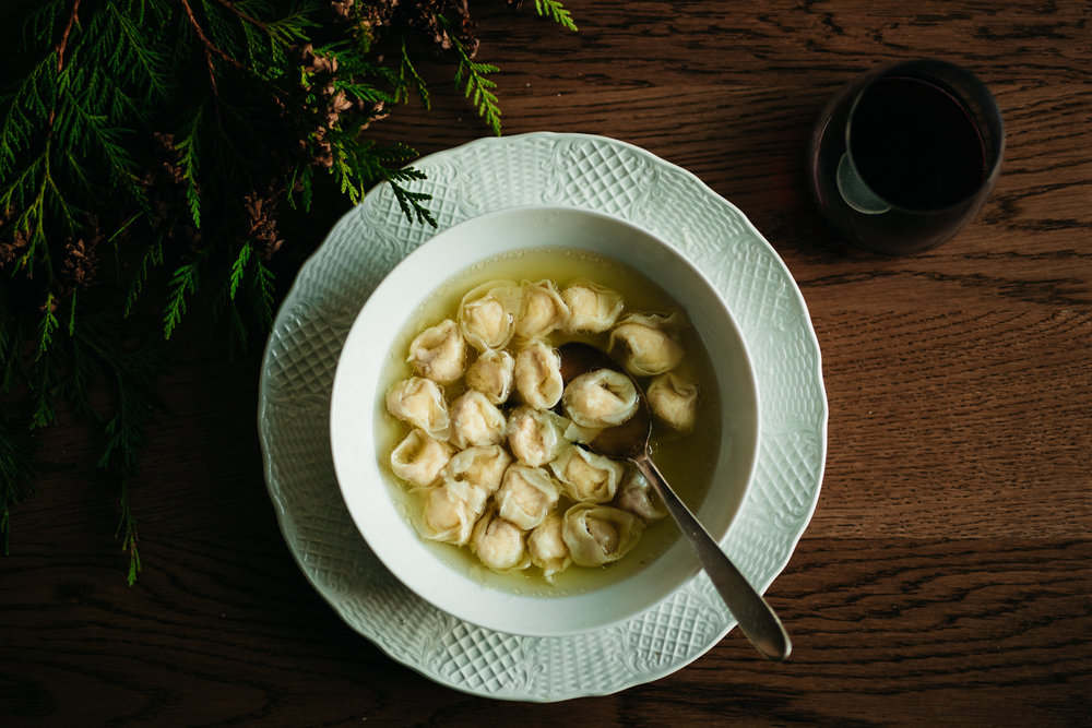 Tortellini in brodo, the Christmas first course in Emilia-Romagna, Italy.