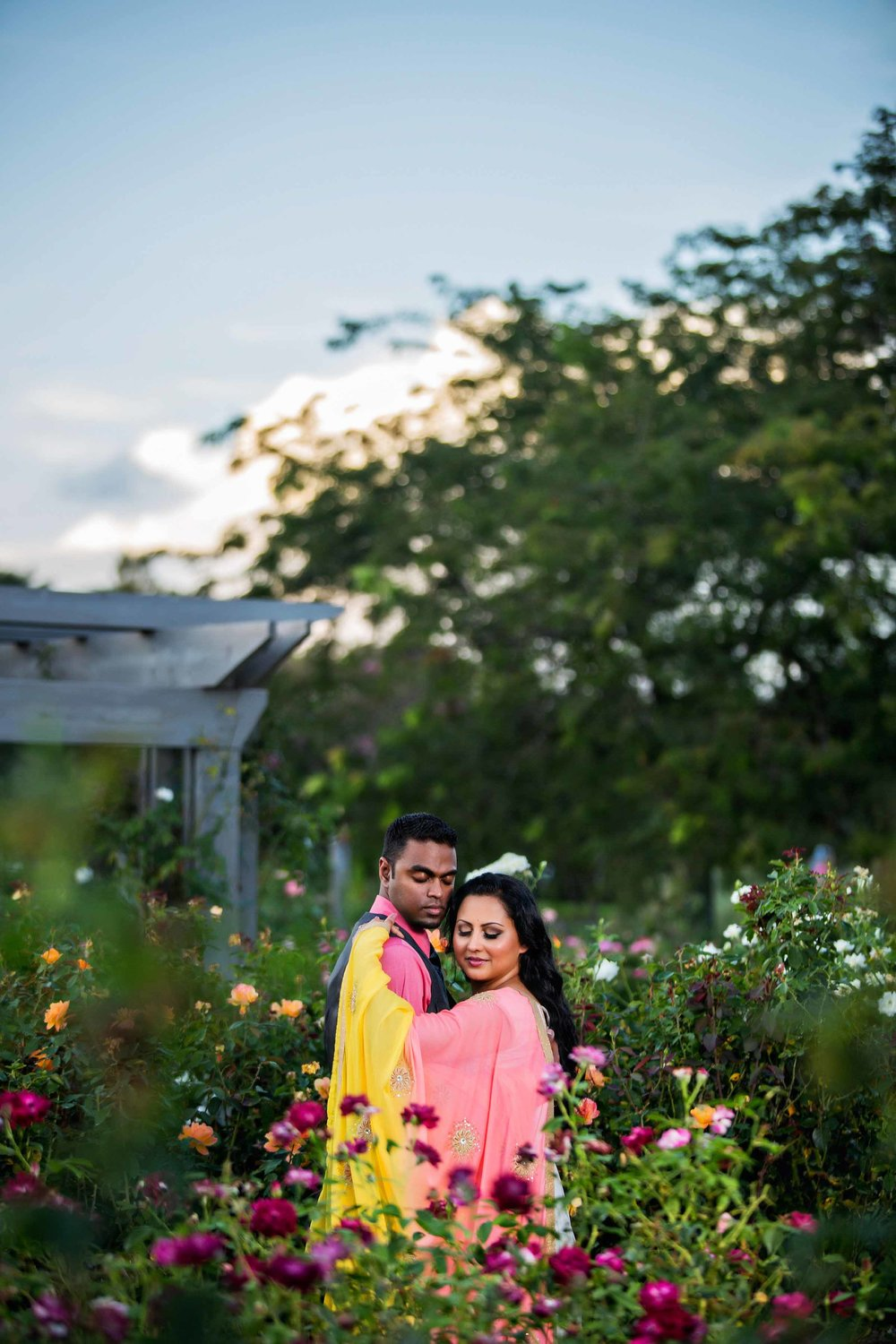 Norfolk Botanical Garden Engagement Portrait Photograph - Sharon And Merwyn - by John Cachero for Ross Costanza Photography