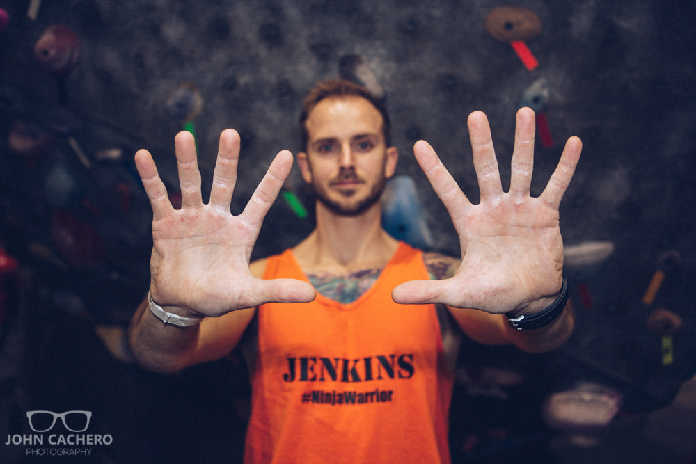 Amateur ninja, Chris Jenkins, showing off his hands after his course run.