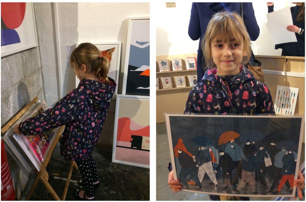 Emma's little girl choosing her own art from The Affordable Art Fair