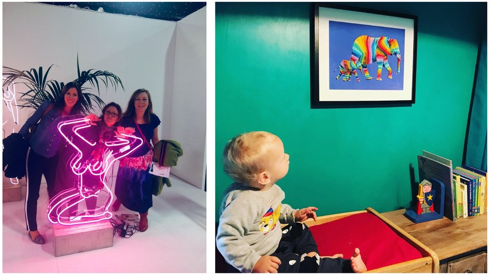 (L) Visiting trade shows for inspiration. (R) Gallery Piccolo's younger customers with his new artwork!