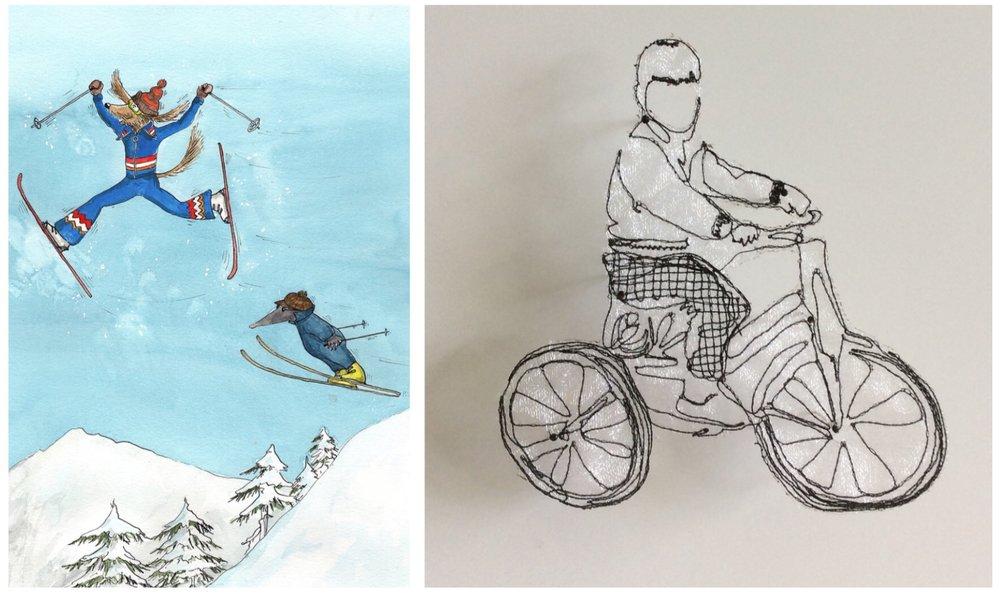 (L) Ulla Steinhaurer's 'Adventures of Konrad and Rolf'. (R) Jo Beattie sewn mixed media work