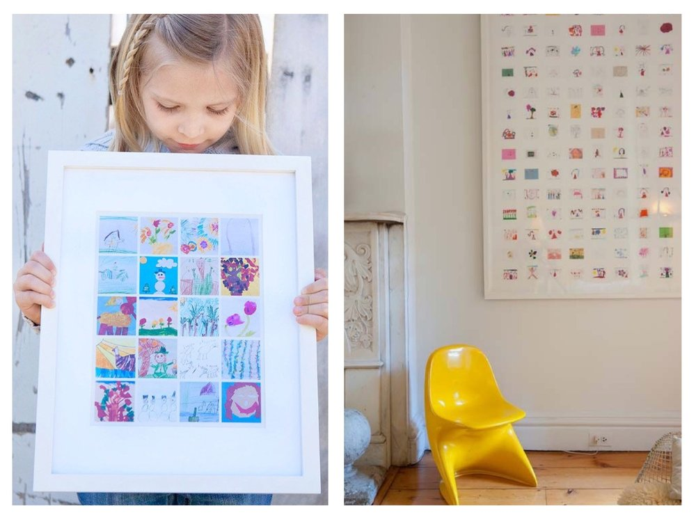 We love these kids drawing framed montages! Scan your child's pictures into your computer and you can go to any print shop to get them beautifully printed equally in a montage. Choose a statement frame to make a really unique piece of art for your home.