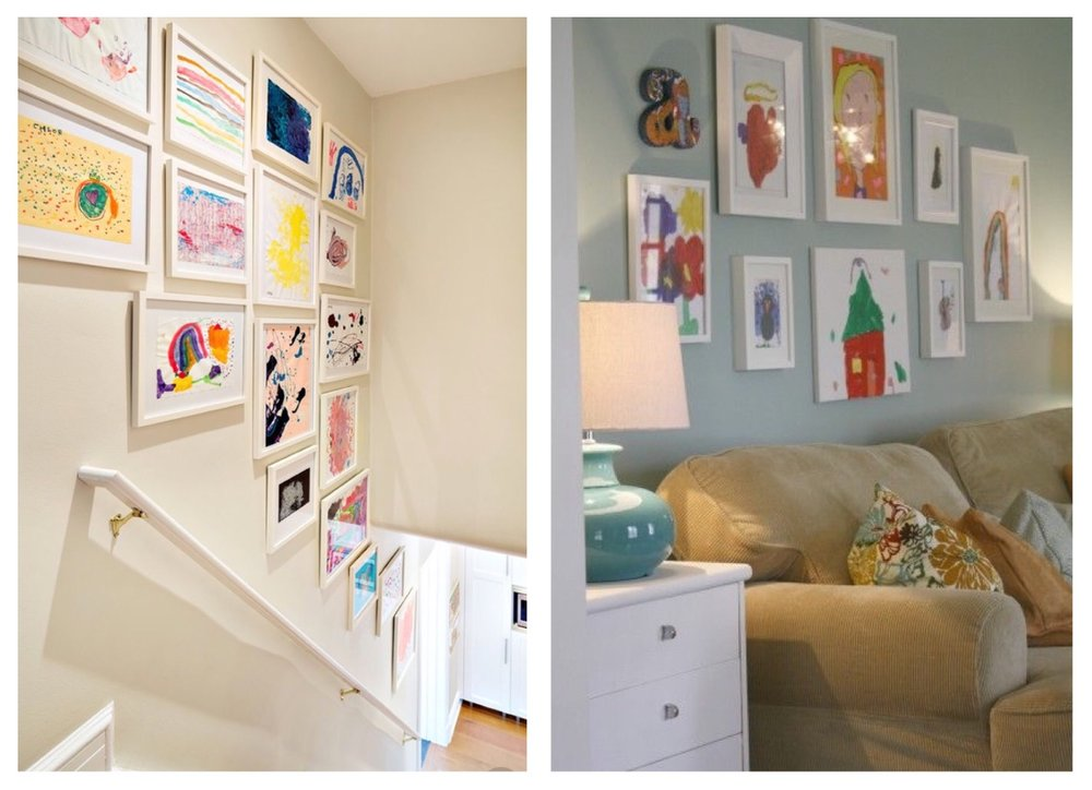 If you're struggling with ideas for your Gallery wall, what is cooler than filling a wall with your kids best work! This idea is so simple, just buy a load of awesome frames and start picking out your favourite pieces.