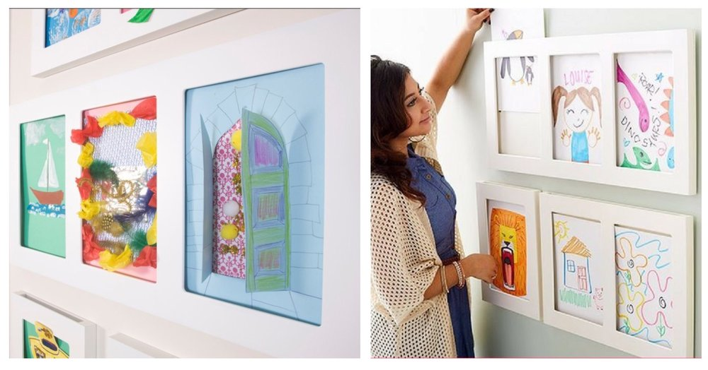 Probably the lowest maintenance way of displaying your children's drawings and paintings would be through these amazing frames by  The Articulate Gallery  - just slot more and more artwork in there and the fact there is no glass makes it easier for showing off those particularly creative uses of cotton wool and pipe cleaners.
