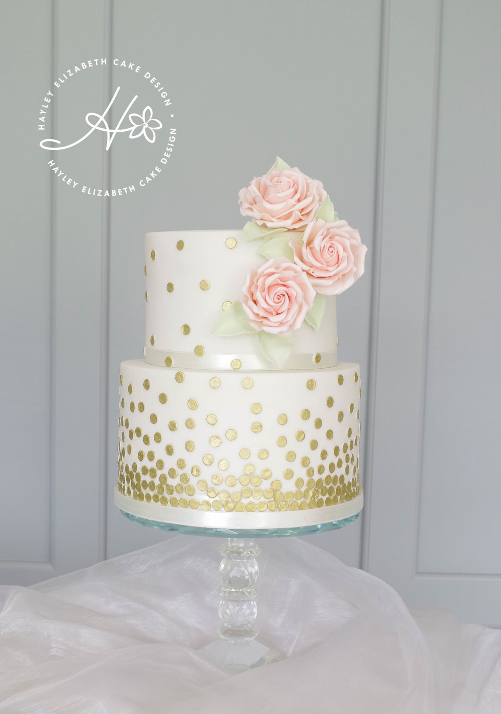 white and gold dots wedding cake with blush roses.jpg