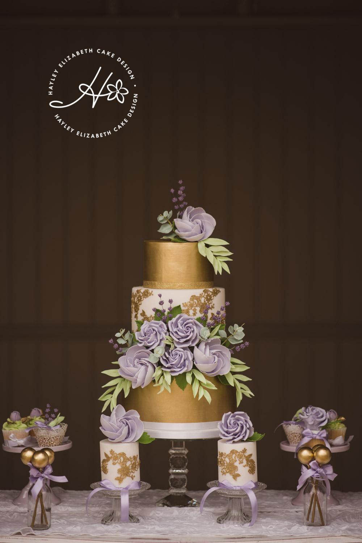purple and gold wedding cake Dorset wedding.jpg