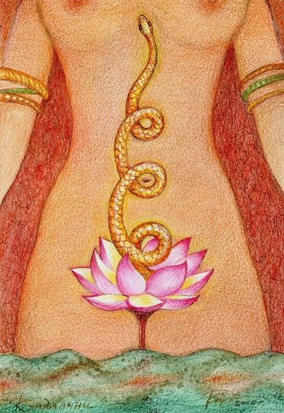 yoni art sacred lotus snake goddess woman