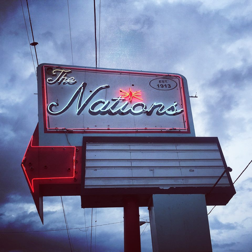 The iconic Nations Neighborhood sign. Located on 51st Avenue.
