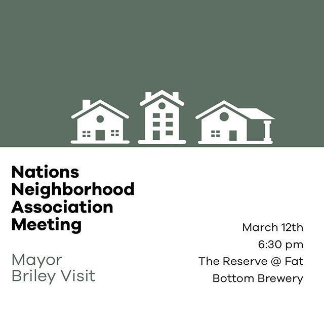 That's right! The Mayor is coming to the Nations Neighborhood Assoc Meeting this Month. Looking forward to seeing you all out as we present our neighborhood priorities to Mayor Briley. Next Tuesday @fatbottombrews event space @thereservevenue 🏠
