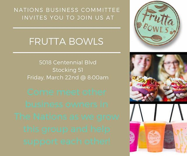 Join the business committee tomorrow morning @fruttabowls_nashville!