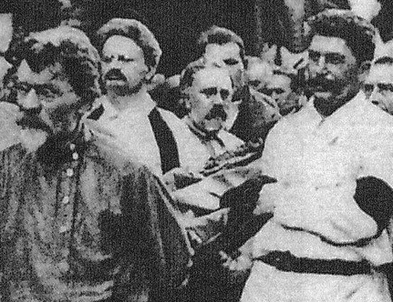 The funeral of Soviet spy chief Felix Dzerzhinsky, 1926. Trotsky (second from left) acts as a pallbearer, as does Stalin (right). In the power struggle that followed the death of Lenin, Trotsky was pushed out by Stalin, who emerged as the dictator of the USSR.
