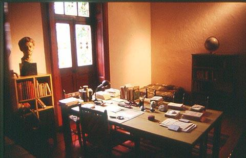 Trotsky's study in his villa in Coyoacan, a suburb of Mexico City. Trotsky and his wife were granted asylum in Mexico in 1937, and they lived there until his assassination in the summer of 1940. The house is now a museum.