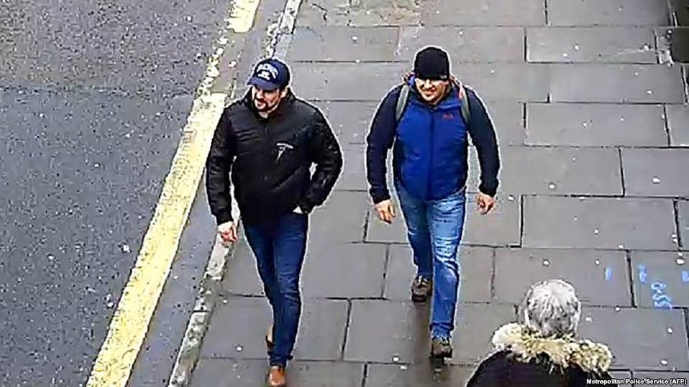 An image released in 2018 by British police, appearing to show two Russian men, identified as Ruslan Boshirov (left) and Alexander Petrov.