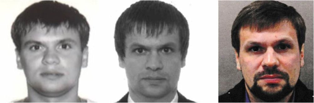 Left: A passport photo from 2003 showing a person that the Bellingcat investigative website has identified as Anatoliy Chepiga. Bellingcat unearthed evidence that Chepiga was a Russian intelligence officer.  Center: A passport photo from 2009, seeming to show the person identified as Ruslan Boshirov.  Right: Photo of Ruslan Boshirov released by British police in 2018.