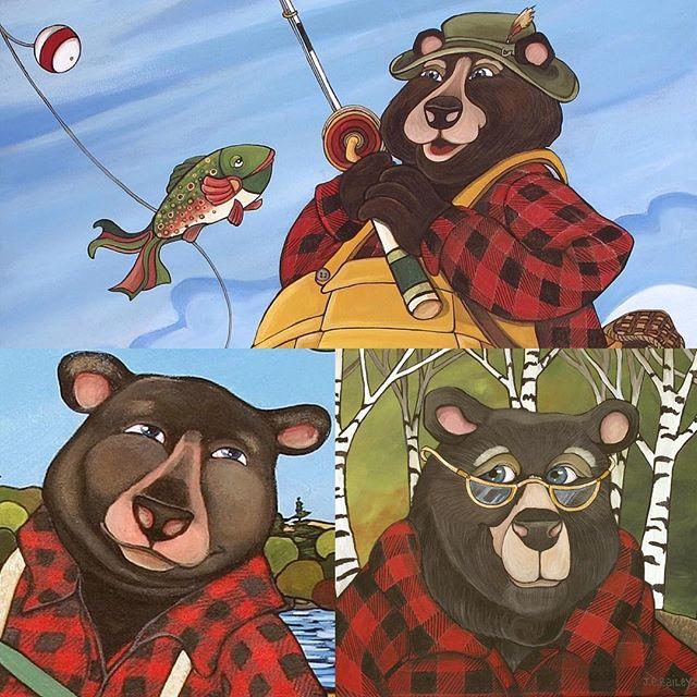"Ode to Lumberjack Plaid on International Lumberjack Day! ""I can 'bear'ly contain my excitement!!! #plaid #lumberjack #bears #bearlover #fishing #forestry #cottagelife #muskokadinnerjacket #whimsicalart #artistsoninstagram #artistoninstagram #instagramart #plaidlife #madeincanada"