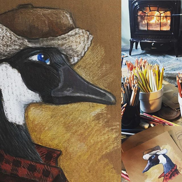 Days of cottage doodling by the fire inspired this plaid clad lad. #cottagelife #canada #muskokadinnerjacket #canadagoose #roots #fall #fireplace #cozy #pencil #pencildrawing #pencilart #pencilsketch#happyplace #artist