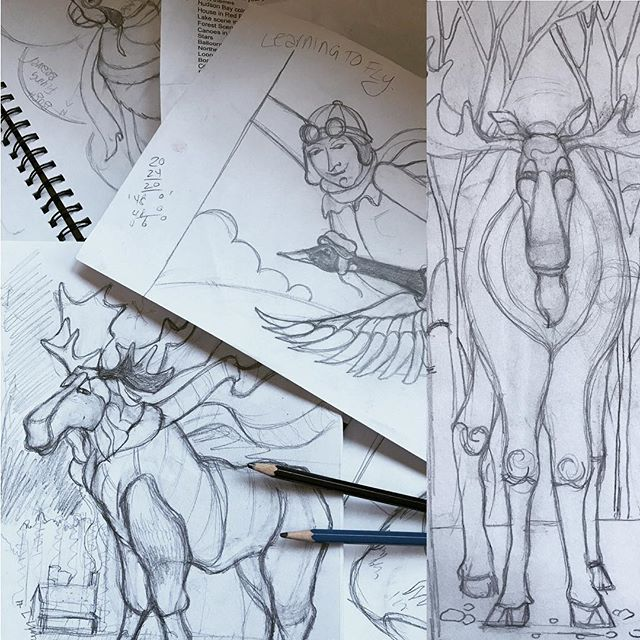 Back to the 'drawing board'. Working up sketches on a large commission piece today. #inspiration #sketch #sketchbook #pencil #canadian #moose #lovedrawing #canada #canadianartist #artistsoninstagram #blackandwhite