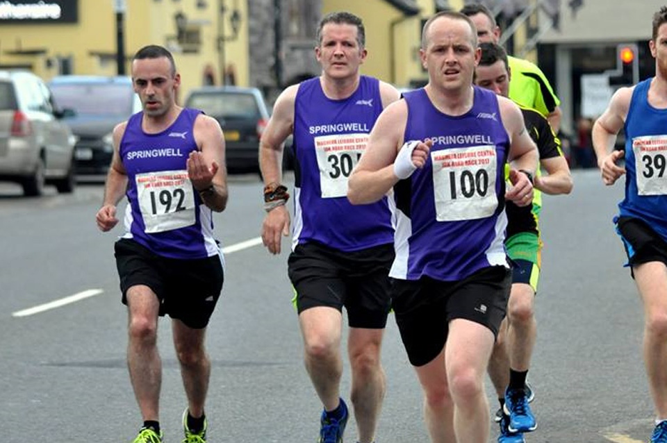 Springwell RC's Ryan Gray, John Butcher and Noel Harkin at the Maghera 10k (Photo Richard McLaughlin)
