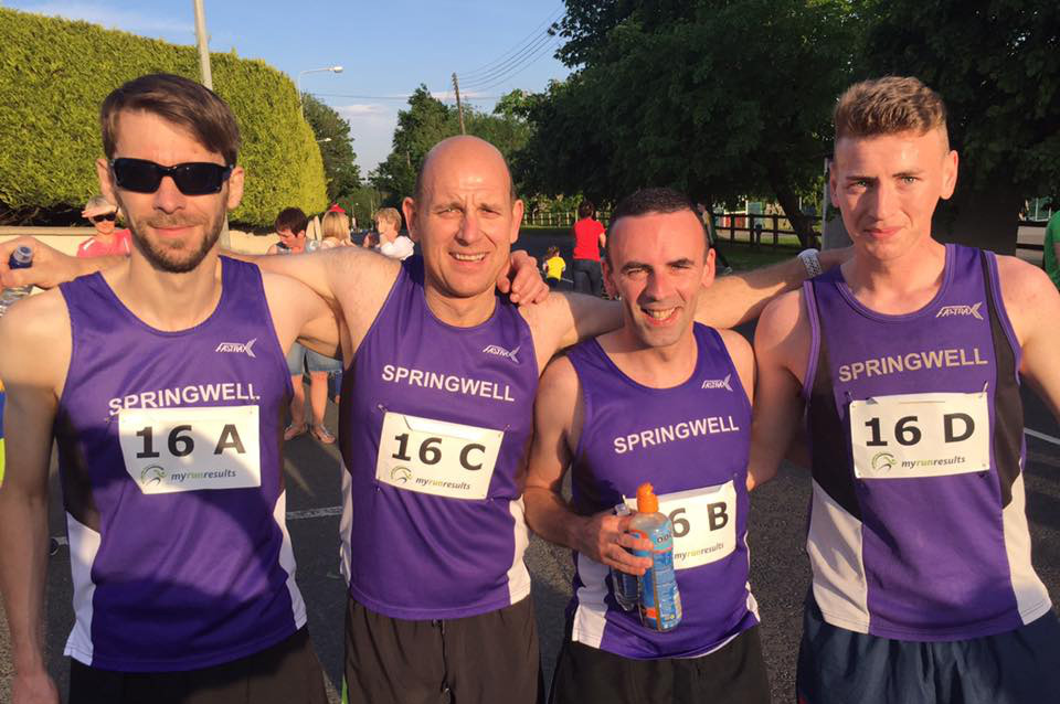 Springwell RC's Men's Team at the Carmen Relay – Will Colvin, Jimmy Stewart, Ryan Gray and Dale Corbett.