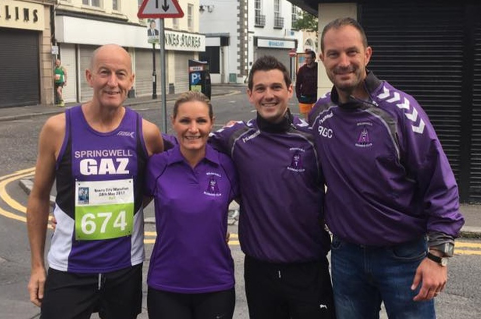 Gary Moore, Catherine Pinkerton, Stephen Fillis and Richard Crown at the Newry City Marathon.