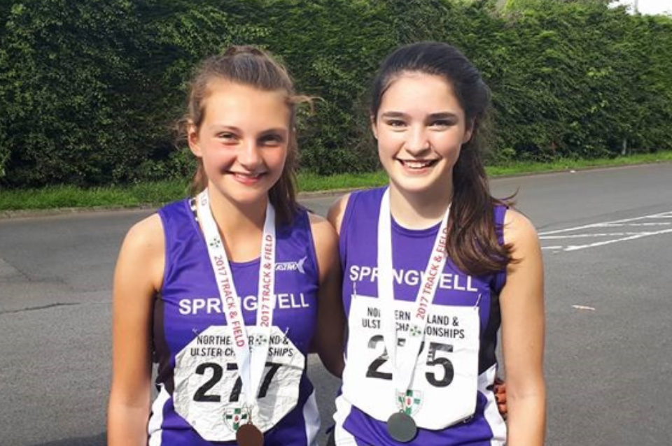 Springwell RC's Hermione Skuce and Niamh Carr at the Mary Peters Track