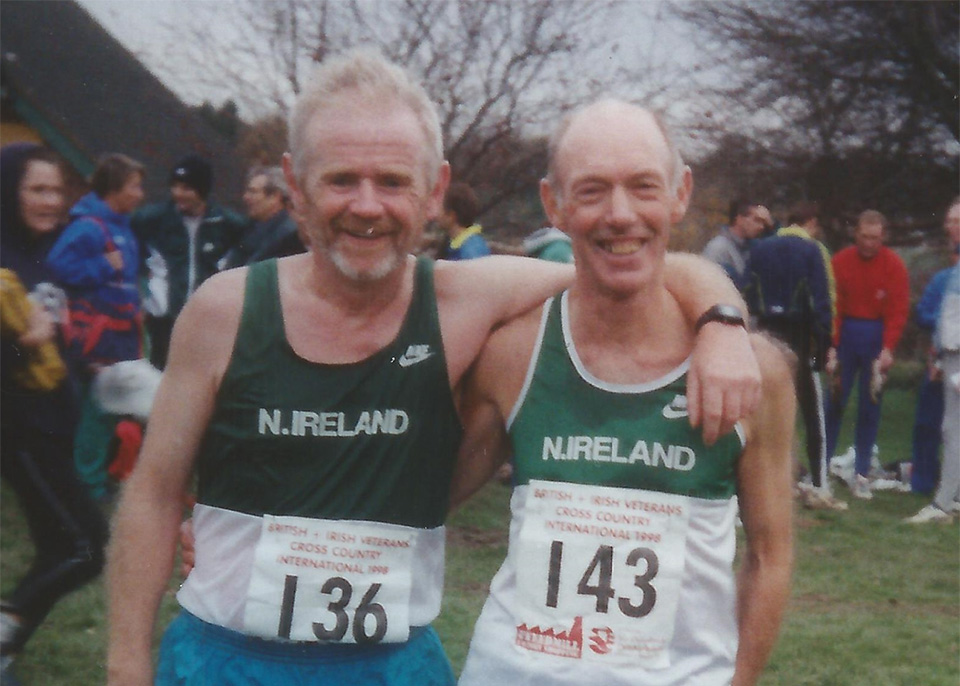 Jude Gallagher with Jim Reid MBE at the British & Irish Veterans Cross Country at St Asaph, Denbighshire, Wales on the 21st November 1998. (Photo courtesy of Heather Gallagher).