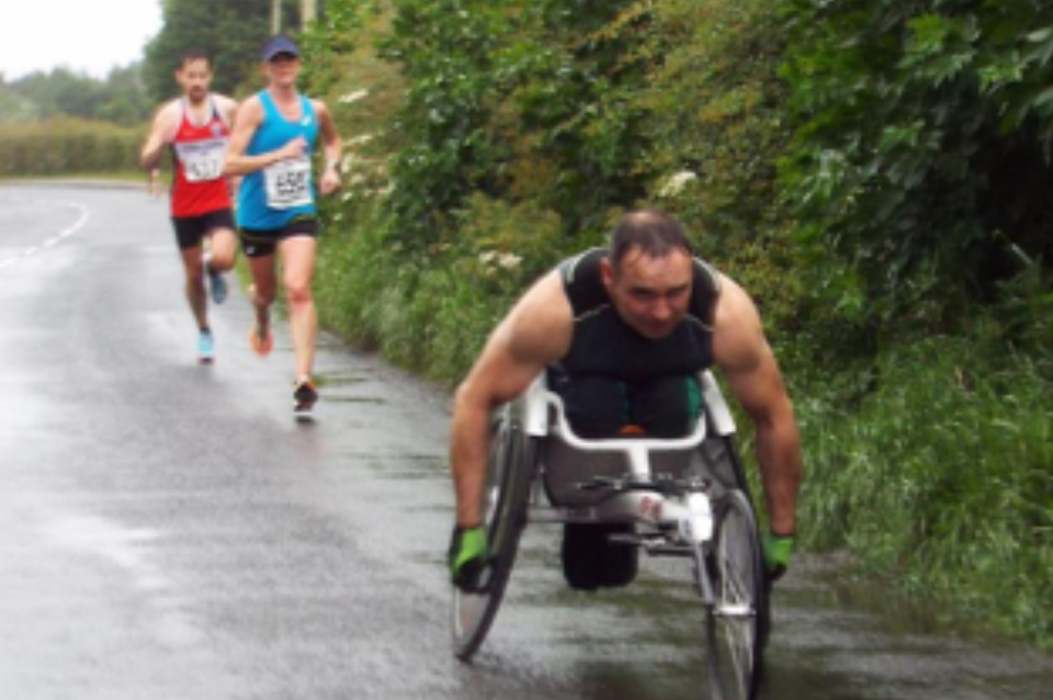 Karol Doherty pursued by Breege Connolly (unattached) and Paul Kelly (Lifford Strabane AC)