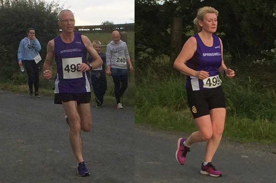 Springwell RC's Bryan and Margaret Edgar at the Greyabbey 10k