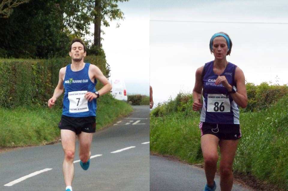 Oliver Cook (Pace Running Club) and Caroline Irwin (Springwell RC) winners of the Centra 10k