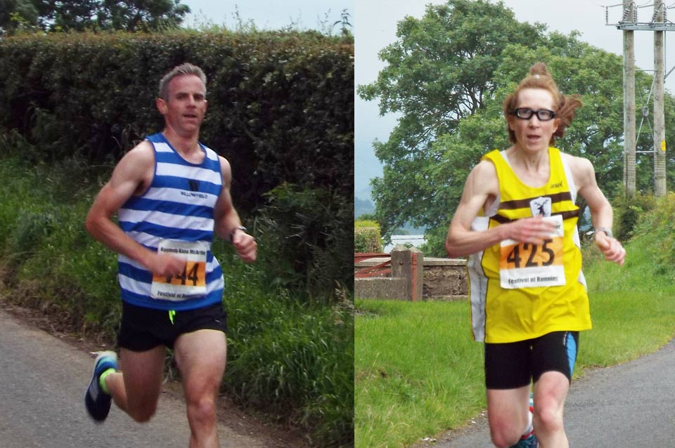 Neill Weir (Willowfield Harriers) and Louise Smith (North Belfast Harriers) winners of the Pure Running Half Marathon