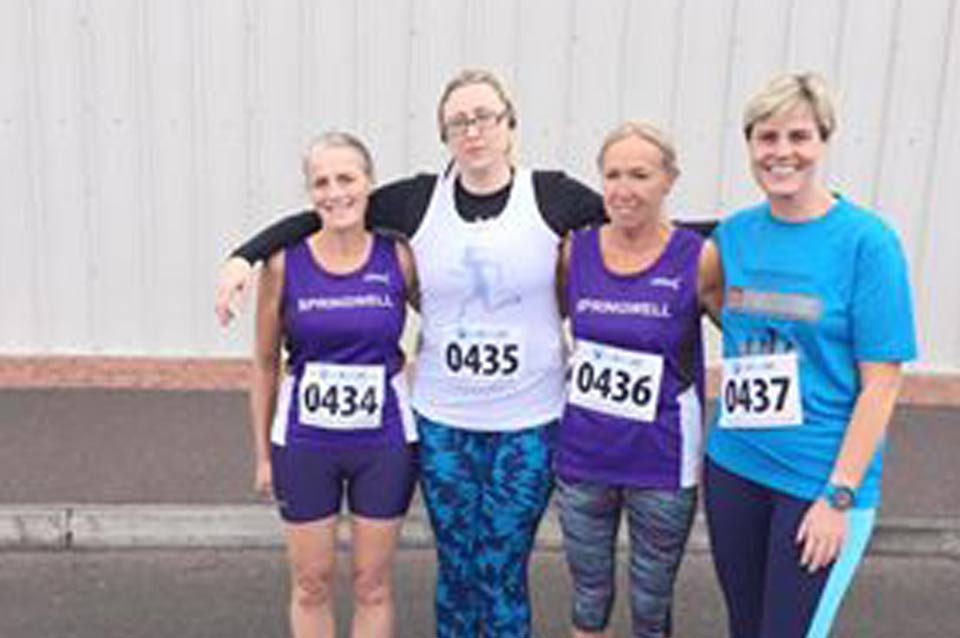 Springwell RC had four members who made the trip to Mid-Ulster for the event. Janet Patrick 41st (2nd F55) 25.31, Julie Corbett 62nd 27.37, Paula Morgan 78th 28.43 and Stacey Montgomery 163rd 40.48.