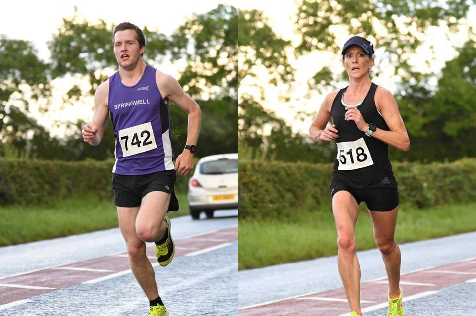 Neil Johnston (Springwell RC) and Breege Connolly (Derry City AC) at the Lacpatrick 5 Mile Milk Run (photo Alan McKeeman)