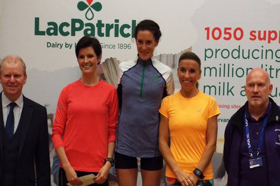 Alderman Tom McKeown. Ciara Toner (Springwell RC), Breege Connolly (Derry City AC), Cathy McCourt (unattached) and Race Director Kenneth Bacon (Springwell RC)