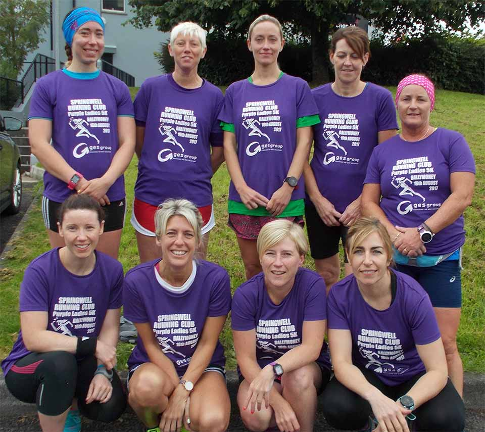 Springwell's Purple Ladies 5K run Wednesday 16 August at 7.30pm from the Joey Dunlop Leisure Centre, Ballymoney.